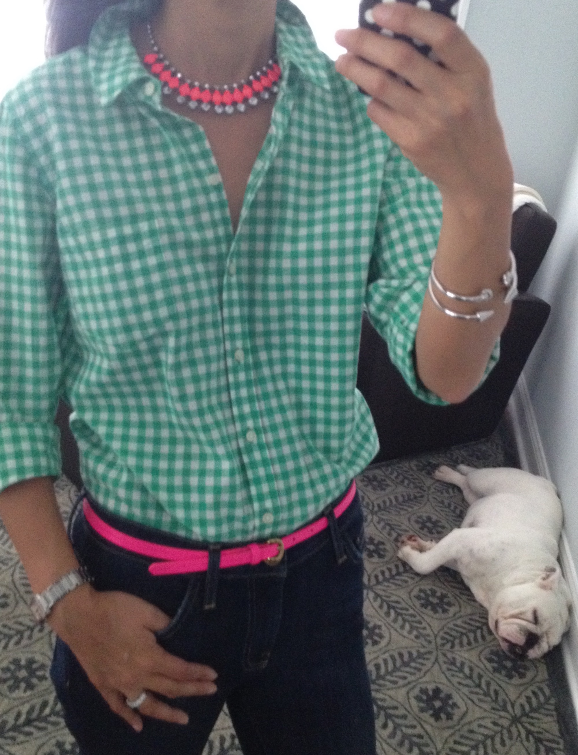 3653b2c56eb ... similar); Current Elliott Stiletto jeans (old, similar); H&M neon pink  statement necklace (old); J.Crew Factory neon pink skinny belt (old, ...