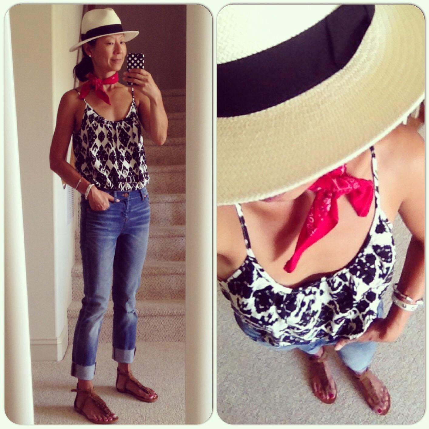 a73ab3fd2349 Madewell Panama hat   crop jeans  LOFT Ikat tank (old