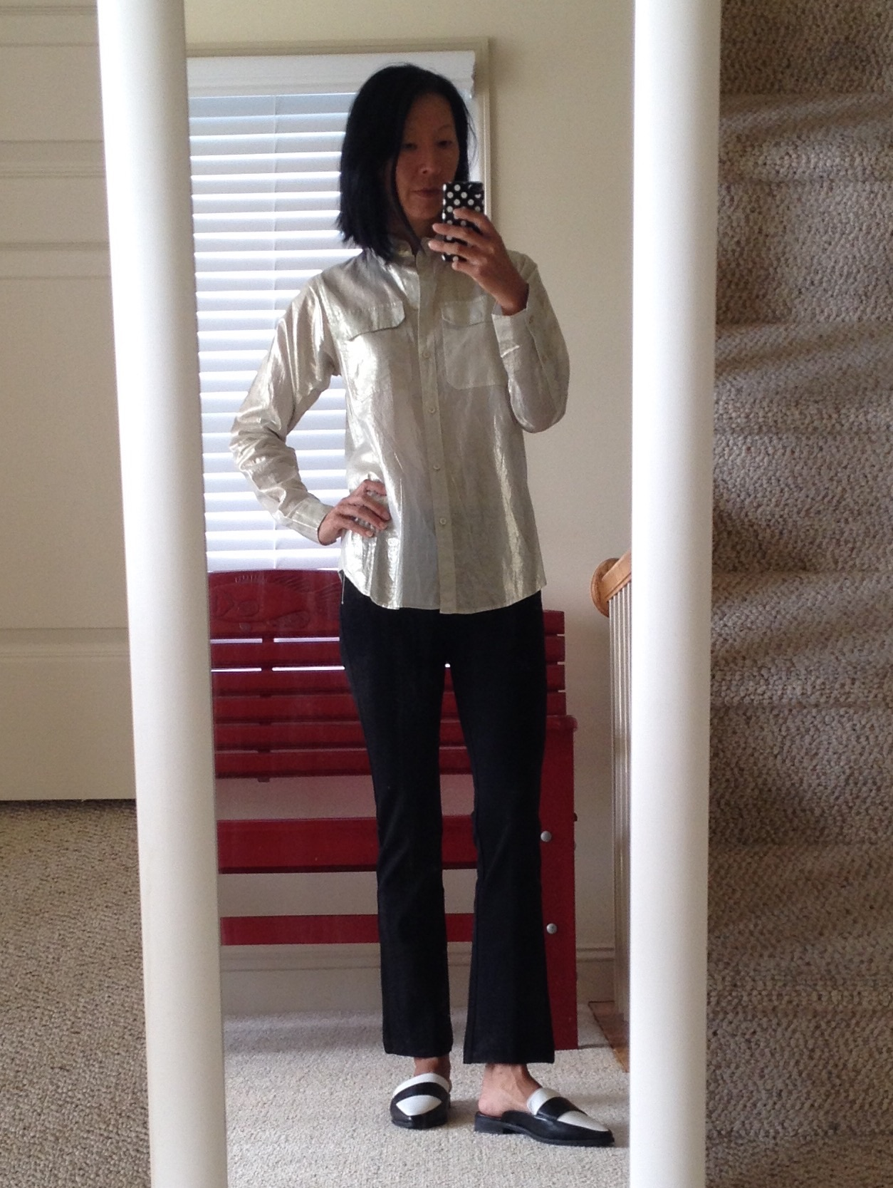 055cf8c8 J.Crew lamé camp shirt; Zara flared cropped leggings; Forever 21 pointed  faux leather loafers (old, similar).