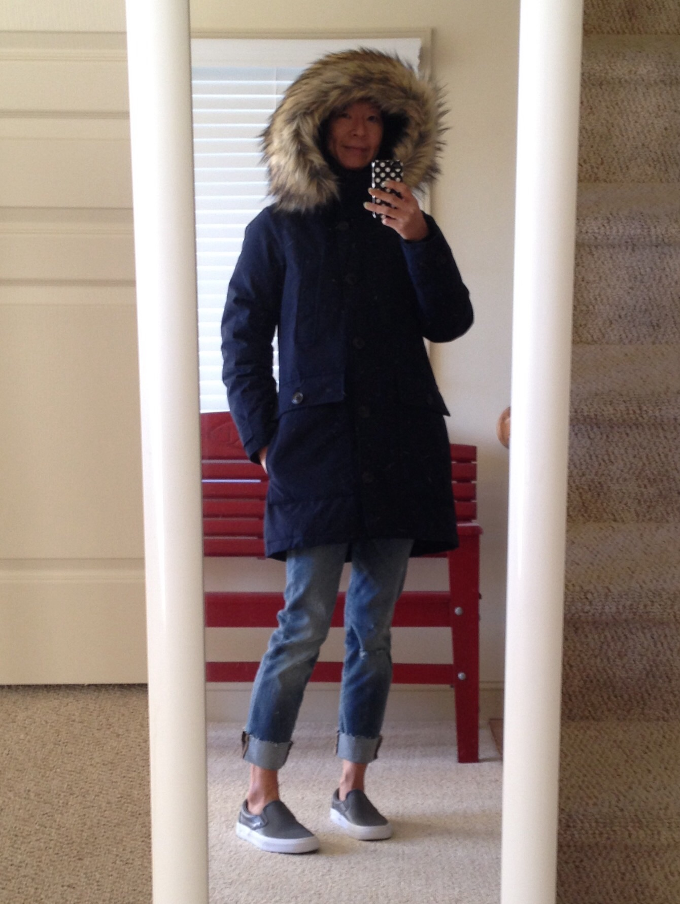J.Crew parka in navy  Madewell cropped jeans (sold out d80b6bef8