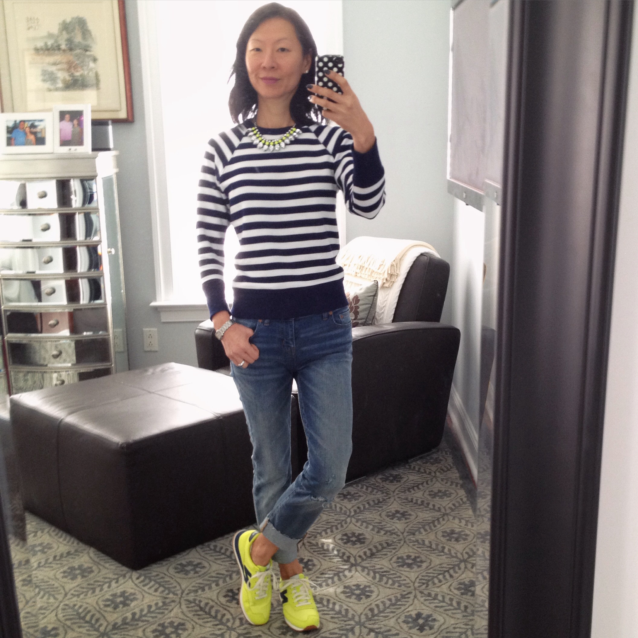 290e9a5c1fb9d J.Crew striped sweatshirt (similar); Madewell Alley straight crop jeans:  drop-hem edition (old, similar); New Balance for J.Crew 620 sneakers in  neon citrus ...