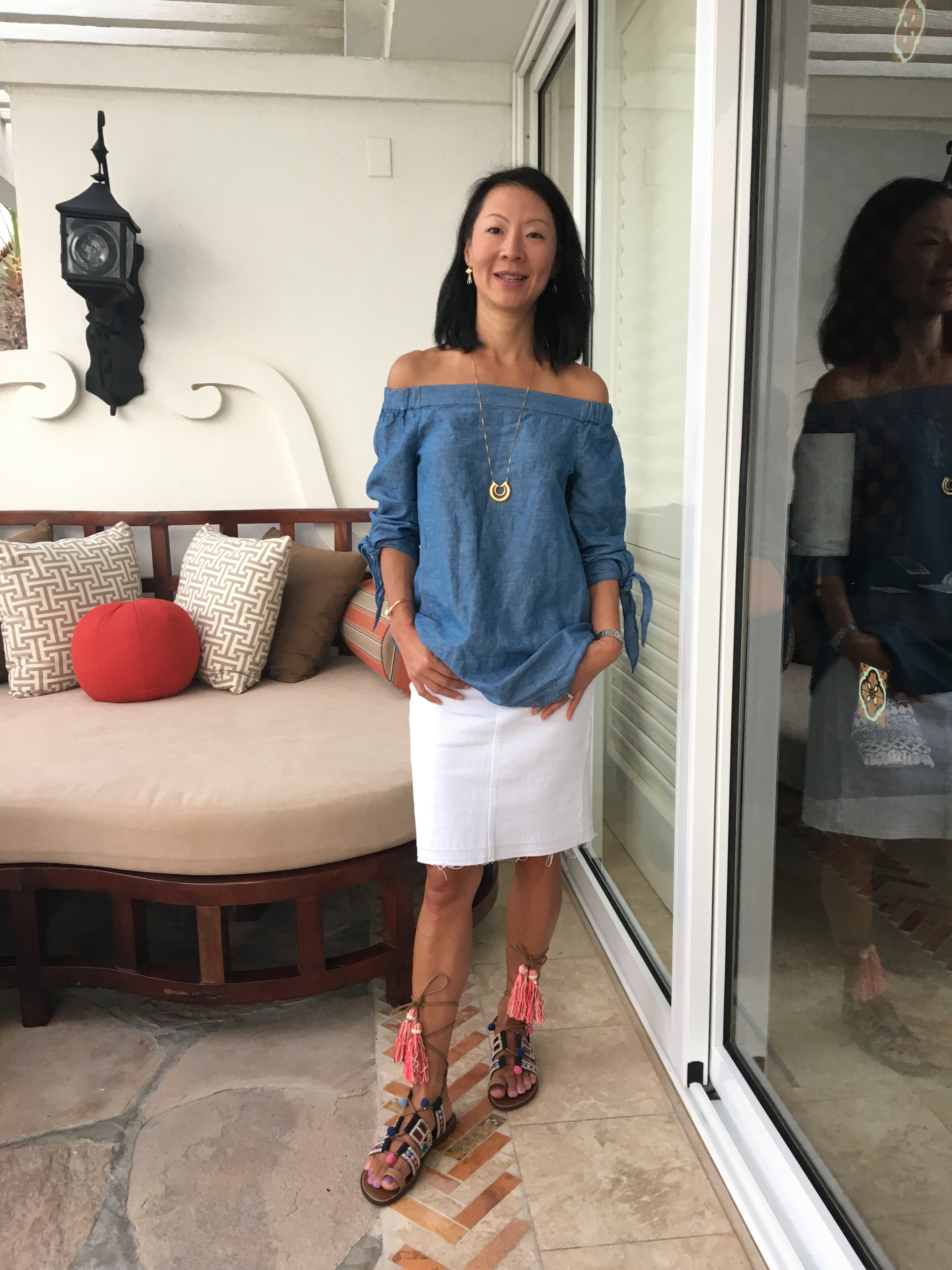 e5f111b8ece61 Free People off-the-shoulder top in chambray  J.Crew frayed white denim  skirt  Sam Edelman Gretchen sandals in golden caramel  Madewell circle  pendant ...
