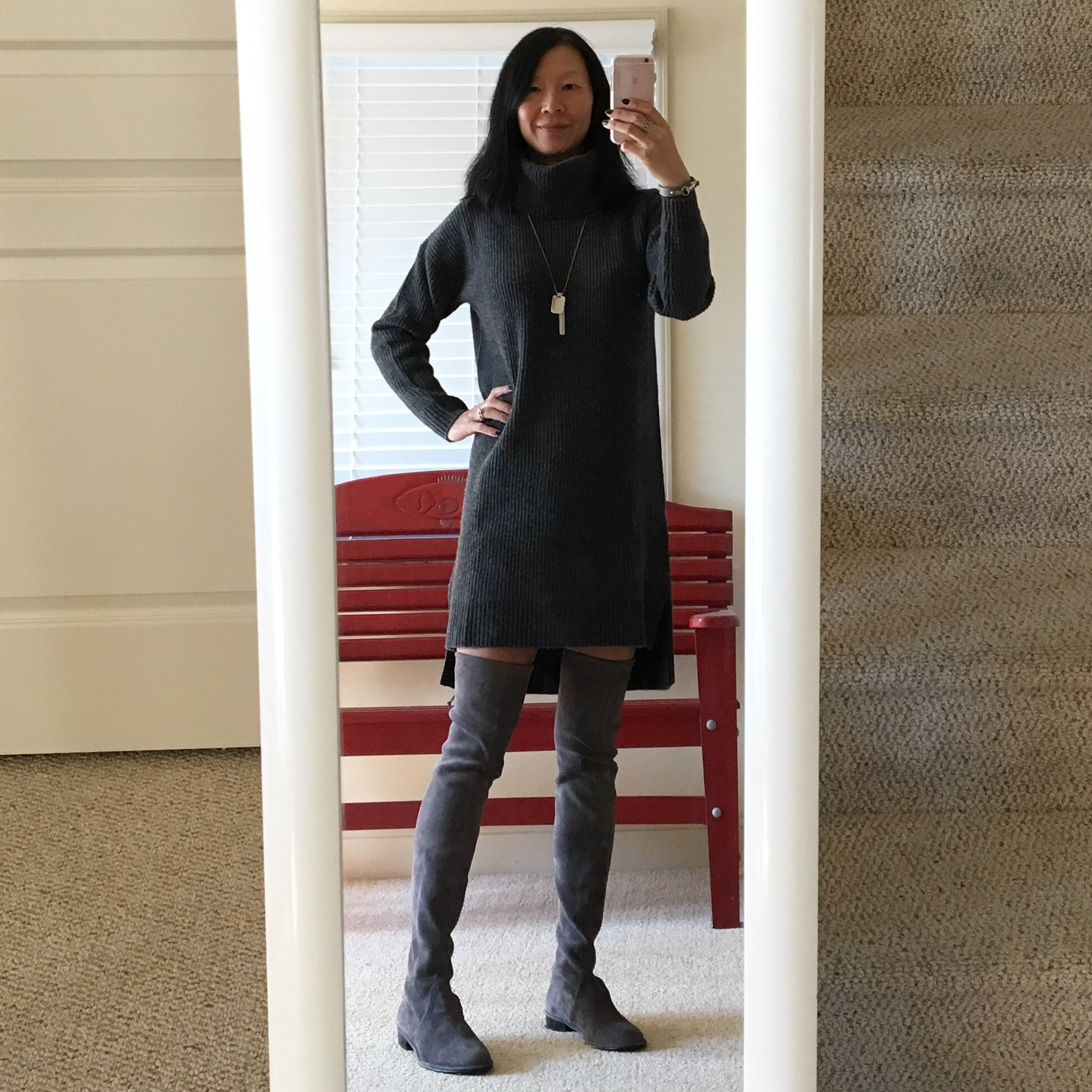 760fcb283cd ... ox (similar)  Stuart Weitzman  Lowland  over-the-knee boots in londra  suede  Rebecca Minkoff dog clip leather cuff bracelet in grey (old