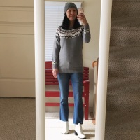 fair isle sweater + white boots